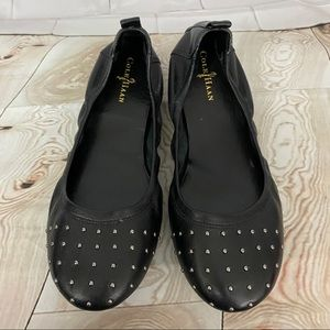 Cole Haan Leather Studded Flat Black Size 7